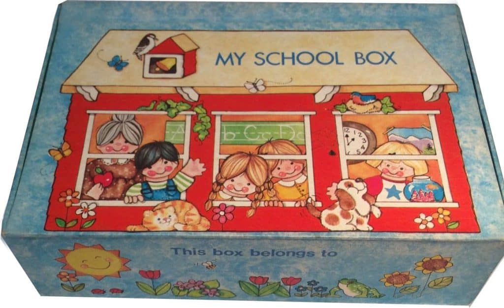 school box with kids in school