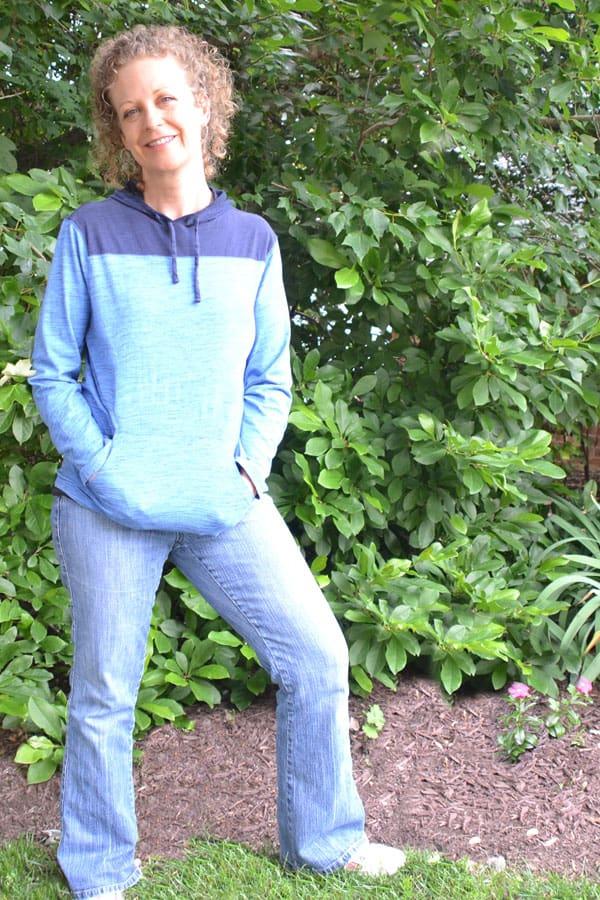 joni standing in garden