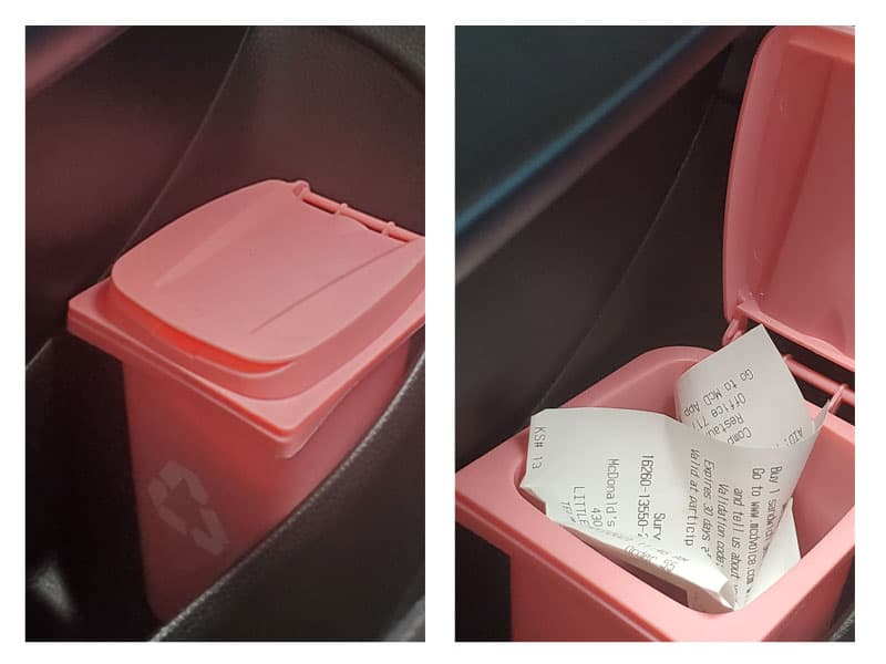 organizing with mini trash cans