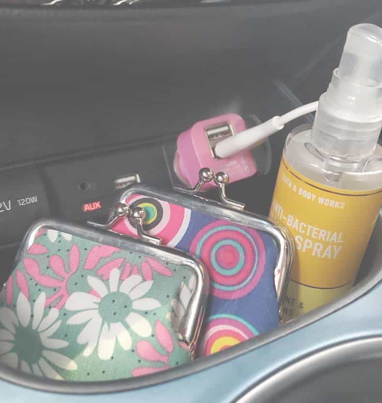 coin purses in car console for organizing