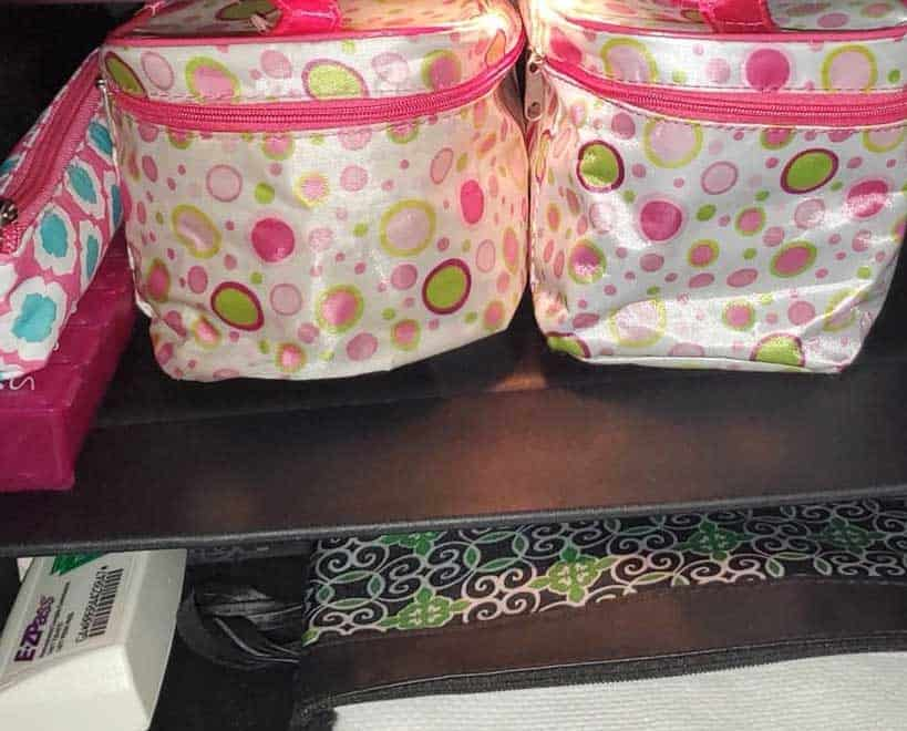 train-style makeup bags to organize car glove compartment