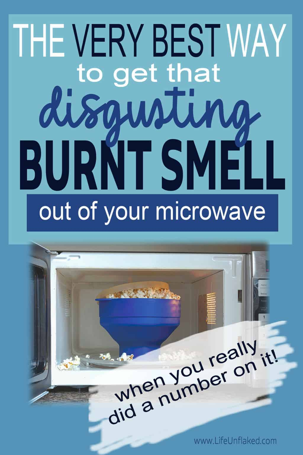 microwave with burnt popcorn smell