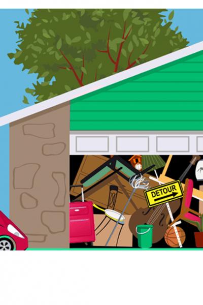 cluttered garage full of junk