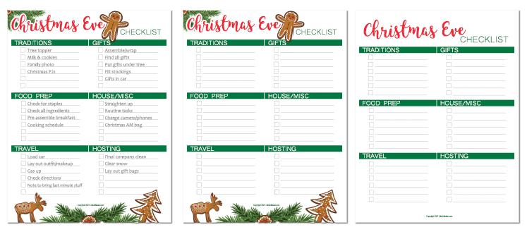 christmas eve checklist printable link